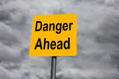 Danger Ahead. A board shot outdoors asking the question royalty free stock photo
