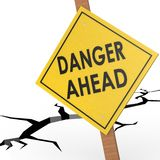 Danger ahead sign board Royalty Free Stock Photography