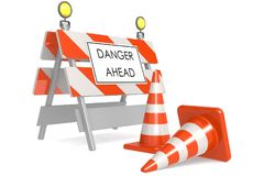 Danger ahead sign with traffic cones stock illustration