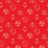 Danger and alarm red seamless pattern Stock Image