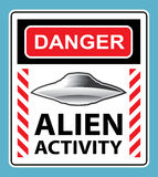 Danger Alien Activity Warning Sign Vector Royalty Free Stock Image