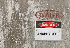 Danger, Anaphylaxis warning sign. Red, black and white Danger, Anaphylaxis warning sign stock images