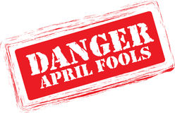 Danger April Fools stamp. On white background Royalty Free Stock Photo