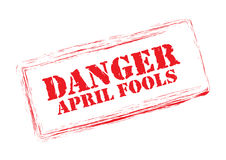 Danger April Fools stamp. On white background Stock Image