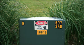 Danger Area. High voltage box warning of danger stock photography