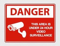 symbol Danger This Area is Under 24 Hour Video Surveillance Sign on transparent background stock illustration