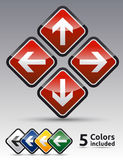 Danger arrow set multicolor. Danger arrow sign collection with black border, reflection and shadow background Royalty Free Stock Photo