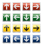 Danger arrow sign set. Isolated warning, exit, emergency sign collection with reflection and shadow on white background Royalty Free Stock Photography