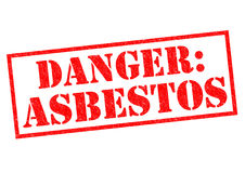 DANGER - ASBESTOS. DANGER: ASBESTOS red Rubber Stamp over a white background Stock Photos