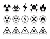 Danger, attention icons set Royalty Free Stock Images