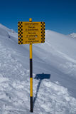 Danger of avalanches. Sign warning of danger of avalanches Stock Photo
