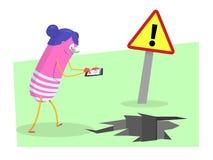 Danger avec des smartphones illustration de vecteur