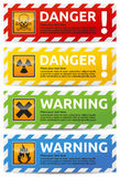 Danger banner. Colored Danger banner collection, set with shadow on white background Royalty Free Stock Photography
