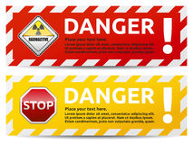 Danger banner. Colored Danger banner collection, set with shadow on white background Stock Image
