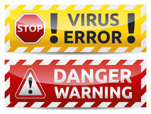Danger banner. Colored Danger and virus, error, warning banner collection, set with shadow on white background Stock Images