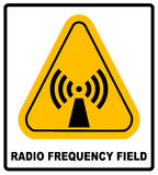 Danger Banner Radio Frequency Field In Yellow Triangle Keep Out Royalty Free Stock Photos