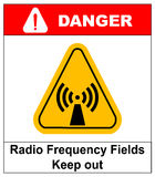 Danger banner radio frequency field in yellow triangle keep out Royalty Free Stock Photography