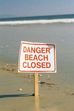 Danger beach closed sign Royalty Free Stock Photo