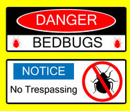 Danger BedBug Hazard Signs Illustrations. Illustrated vector yellow, black and white danger signs for bed bug infestations Stock Photos