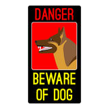 Danger beware of dog sign with shepherd dog vector illustration Royalty Free Stock Image