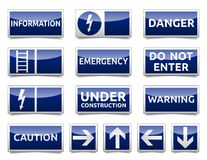 Danger blue sign mini set Royalty Free Stock Photos