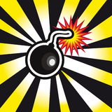 Danger Bomb explosion in yellow and black background. Template Royalty Free Stock Photo