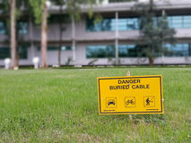 Danger buried high voltage cable Royalty Free Stock Image