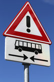Danger, buses crossing ahead. Dutch road sign: danger, buses crossing ahead stock photography