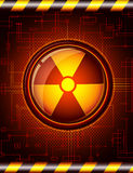Danger button. Glossy button with the sign of radiation. Additional vector format in EPS 8 Stock Photography
