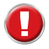 Danger Button. Red round button with the exclamation mark symbol Stock Images