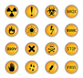 Danger buttons. Clip-art from yellow buttons on a danger theme Royalty Free Stock Photo