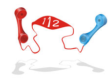 Danger, call 112. Two phone receiver with 112 grown from the cord Royalty Free Stock Photos