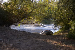 Danger, Car Crashing on Water Pond, Highway Bridge Royalty Free Stock Images