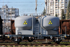 Danger cargo. Goods wagon with sign of radiation caring danger cargo Stock Photo