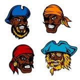 Danger cartoon pirates, captains and sailors Stock Photos