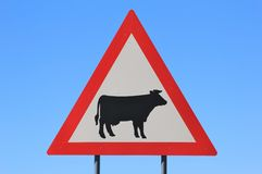 Danger - Cattle (Cow) Crossing Road Sign - Watch out for Domestic Animals Royalty Free Stock Photography