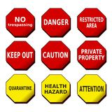 Danger Caution Attention Signs. Illustration of signs regarding different security topics Royalty Free Stock Photos