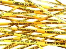 Danger Caution Do Not Cross yellow ribbons Stock Photo