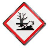 Danger it is hazardous for water. Danger and caution hazardous for water Stock Images