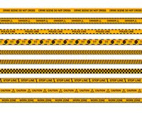 Danger caution seamless tapes. Crime scene do not cross yellow police line. Work zone stripe. vector illustration