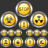 Danger and Caution Street Sign. Set of Round Icons Stock Photo