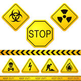 Danger and Caution Street Signs 01 Stock Photos