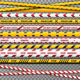 Danger caution tapes for police accident. Tape for restricted perimeter, tape to prohibited zone illustration Stock Images