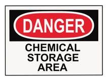 Danger Chemical Storage Area. OSHA danger chemical storage area warning sign isolated on white Royalty Free Stock Photo