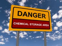 Danger chemical storage area Stock Photo