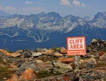 Danger cliff area sign Royalty Free Stock Photos