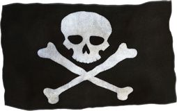 Pirate Cloth Flag Isolated, Danger Stock Photos