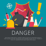 Danger concept in flat design. Vector illustration Royalty Free Stock Photography