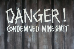 Danger condemned mine shaft Royalty Free Stock Photo