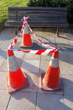 Danger cones. With caution tape Stock Image